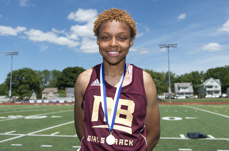 06/12/19  Wesley Bunnell | Staff  Raven Jarrett became the first member of the New Britain High School girls track and field team to win the heptathlon with her performance on June 12, 2019 at Manchester High School. She held first place after day one on June 11, 2019 before slipping to second place on day two but would win the event with her finish in the 800 meter.