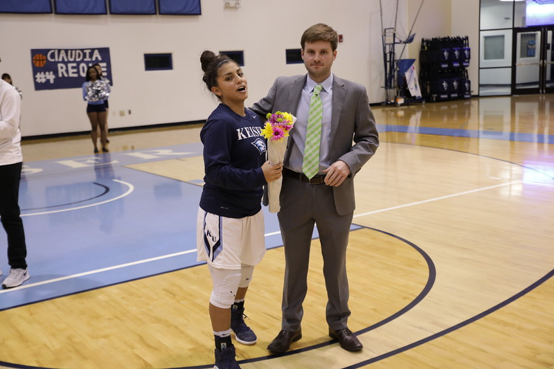 Keiser senior Guard Claudia Reque and Caoach Walling