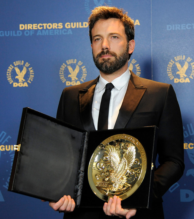 ". Ben Affleck poses backstage with his award for outstanding directorial achievement in feature film for ""Argo\"" at the 65th Annual Directors Guild of America Awards at the Ray Dolby Ballroom on Saturday, Feb. 2, 2013, in Los Angeles. (Photo by Chris Pizzello/Invision/AP)"