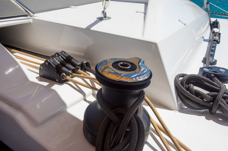 The third winch is also a manual winch and usually you use it to hold the traveller.