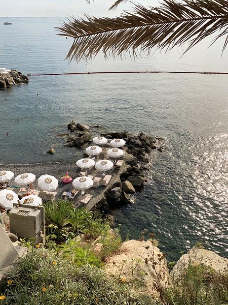 The hotel's private beach