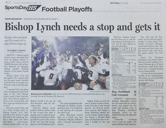 BL Varsity Football - The Dallas Morning News Sports Day HS Headline 12.04.16