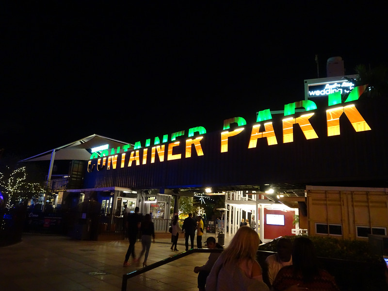 Downtown Vegas at night.  The container park.
