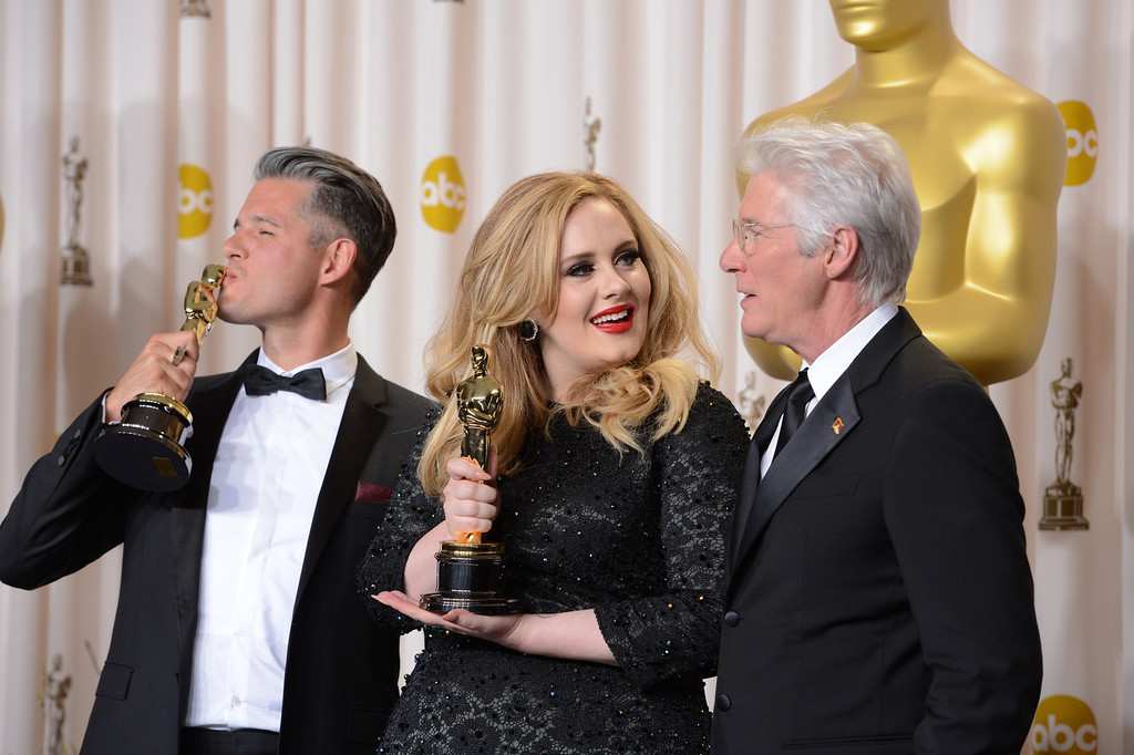 ". musician/producer Paul Epworth  and Singer Adele won the award for best original song for ""Skyfall\"" from \""Skyfall\"" backstage at the 85th Academy Awards at the Dolby Theatre in Los Angeles, California on Sunday Feb. 24, 2013 ( David Crane, staff photographer)"