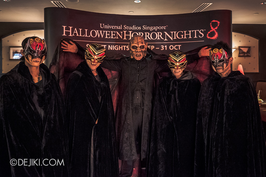 Halloween Horror Nights 8 Press Conference - Killuminati Haunted House icon - Lu Xi Fa with Killuminati Vampire triad clan members