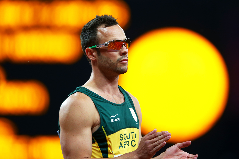 Description of . Oscar Pistorius of South Africa looks on prior to the Men's 400m T44 Final on day 10 of the London 2012 Paralympic Games at Olympic Stadium on September 8, 2012 in London, England.  (Photo by Michael Steele/Getty Images) South African Paralympic athlete Oscar Pistorius has reportedly shot his girlfriend at his home in Pretoria. Police are questioning him over the incident with reports suggesting he mistook her for a burglar.