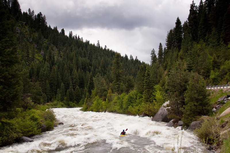 "Paddler Tristan McLaran in ""Bad Jose"" on the North Fork Payette River, Idaho.  8,000cfs"