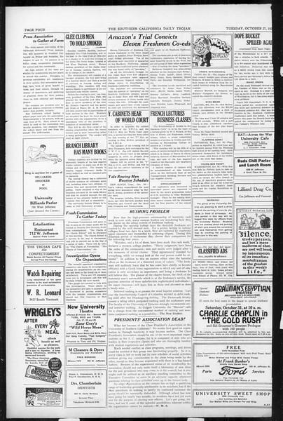 Daily Trojan, Vol. 17, No. 30, October 27, 1925