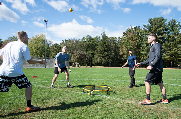 10/04/19 Wesley Bunnell | StaffrrPlaying a game of Spike Ball in Norton Park in Plainville on Friday afternoon are friends Andrew Skowinski, L, Alex Dayton, Cory Carlone and Cameron Carlone.