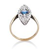 2.93ct Antique Diamond and Sapphire Navette Dinner Ring 5