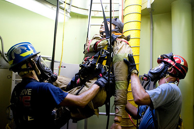 Firefighters attend confined training