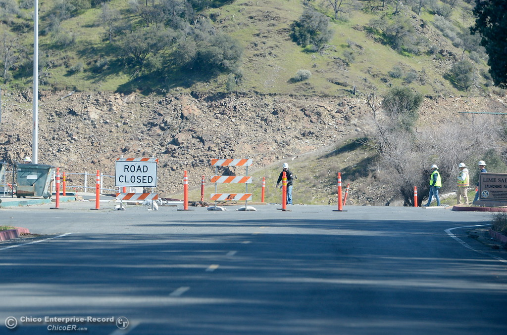 . Construction is underway near the top of the Lime Saddle Boat launch Monday March 5, 2018. The boat launch remains open Monday. (Bill Husa -- Enterprise-Record)