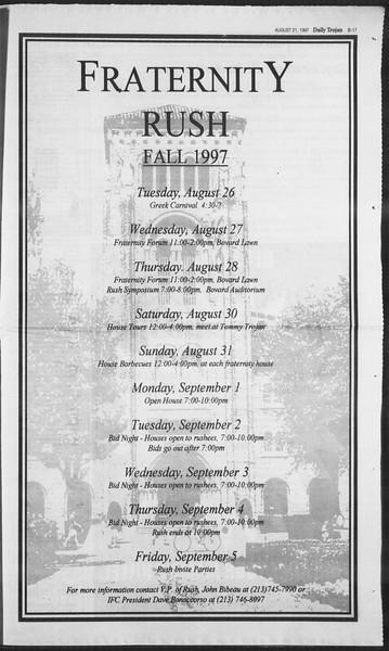 Daily Trojan, Vol. 132, No. 1, August 21, 1997