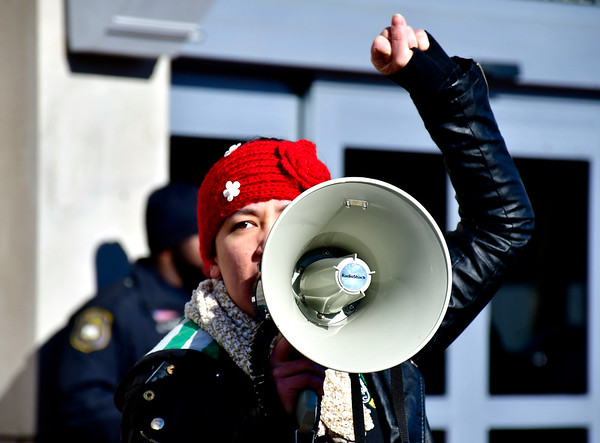 1/26/2019 Mike Orazzi | Staff Ashley Hamel during a protest Saturday morning in downtown New Britain to protest the decision by an independent states attorney to not charge five police officers who fired on a carload of men, killing Zoe Dowdell and wounding two others last December.