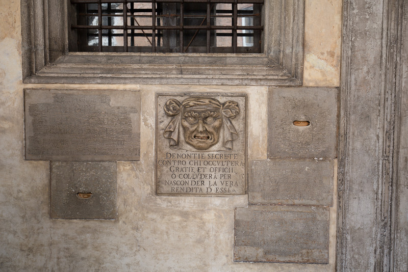 The mouth of truth. The mouth was an open letter box meant to receive anonymous complaints which would often lead to judicial procedings against the accused.
