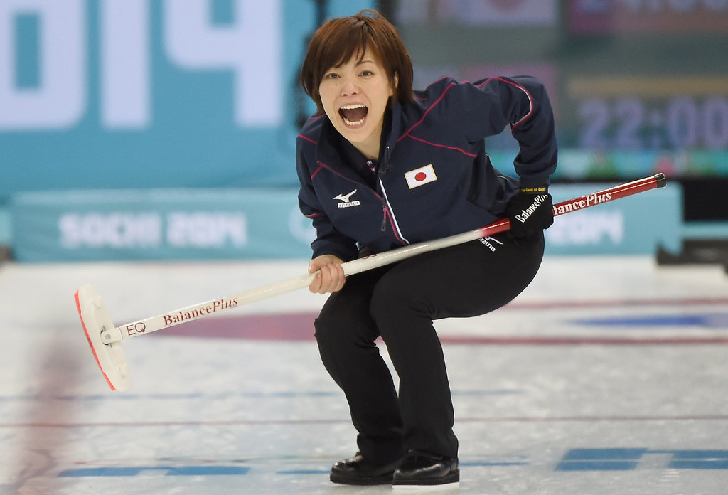 . Ayumi Ogasawara of Japan reacts during the Curling Women\'s Round Robin match between Japan and Switzerland on day nine of the Sochi 2014 Winter Olympics at Ice Cube Curling Center on February 16, 2014 in Sochi, .  (Photo by Lars Baron/Getty Images)
