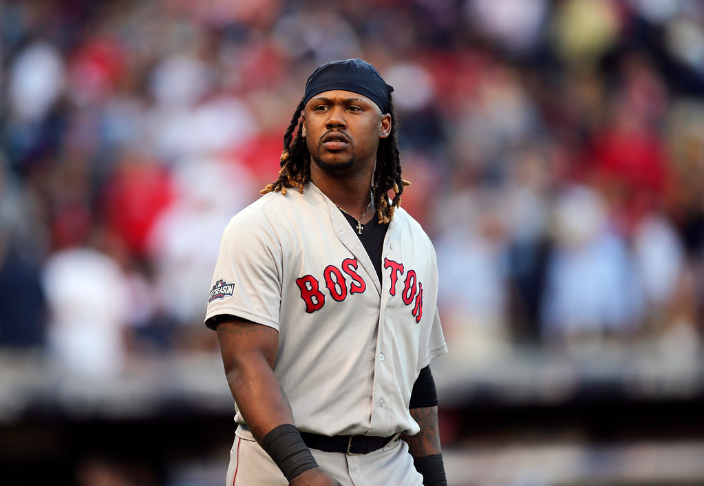 . Boston Red Sox\'s Hanley Ramirez walks to the field after being called out on strikes against the Cleveland Indians in the third inning during Game 2 of baseball\'s American League Division Series, Friday, Oct. 7, 2016, in Cleveland. (AP Photo/Aaron Josefczyk)