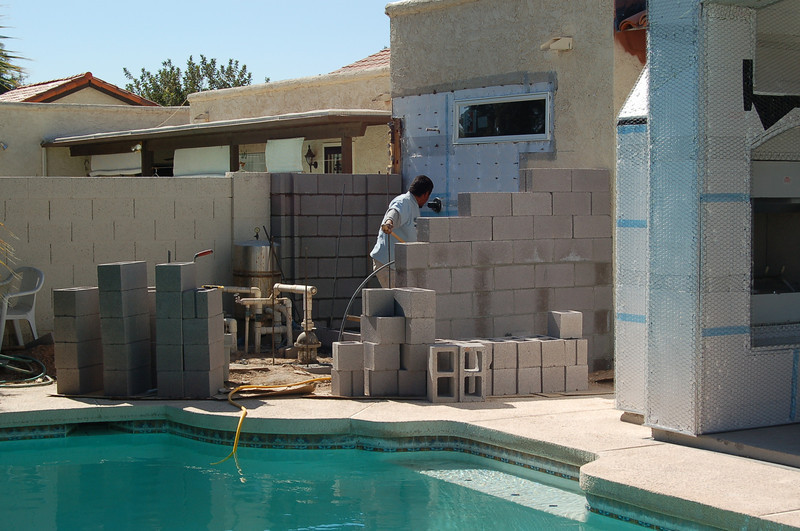 The outdoor shower privacy wall is almost done.