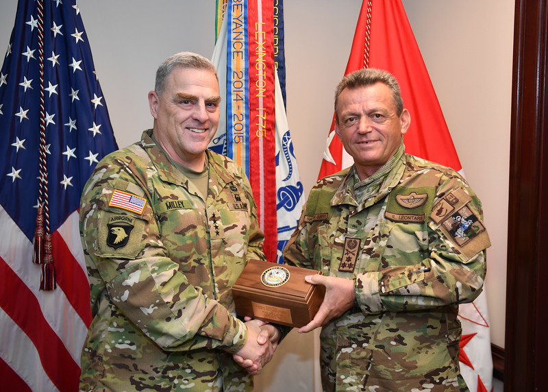 Chief of Staff of the U.S. Army Gen. Mark A. Milley hosts Chief of General Staff of the Cyprus National Guard Lt. Gen. Ilias Leontaris for an office call at the Pentagon, Arlington, Virginia, Oct. 15, 2018