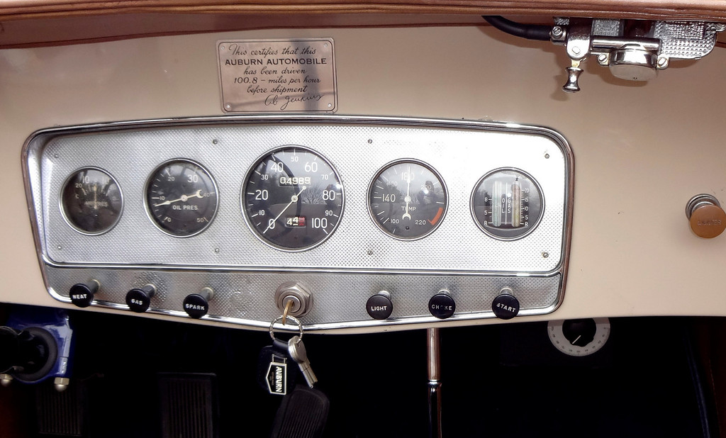 . The dashboard of Walnut Creek resident Lloyd Riggs\' rare 1931 Auburn Speedster Model 8-98 sports a plaque stating that the vehicle was driven 100.8 mph before shipment. (David Krumboltz/For Bay Area News Group)