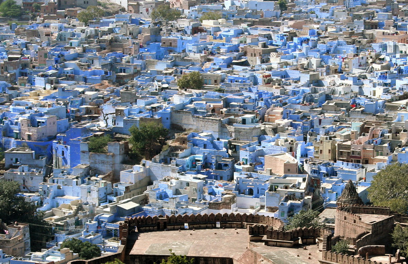 jodhpur from above.  building are painted blue with indigo.  supposedly, it keeps insects away