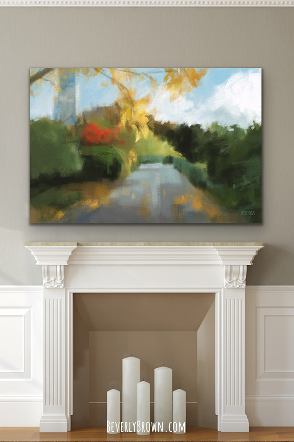 Autumn in Central Park Painting Print Over Fireplace