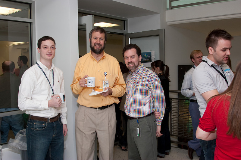 James Bubeck, Hans Krimm, and David Friedlander (photo by Mike Arida) -- March 2011 new staff welcome coffee, Astrophysics Science Division, NASA/ Goddard Space Flight Center