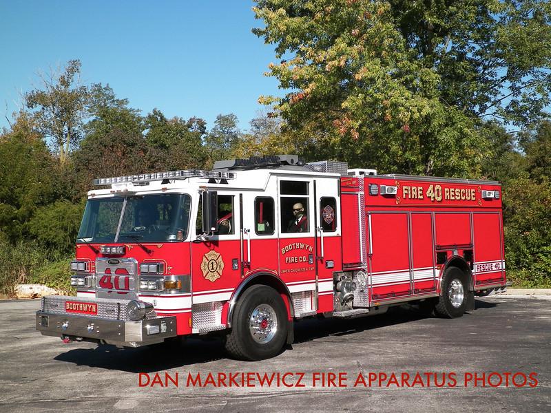 BOOTHWYN FIRE CO. DELAWARE COUNTY RESCUE 40 2012 PIERCE PUMPER/RESCUE