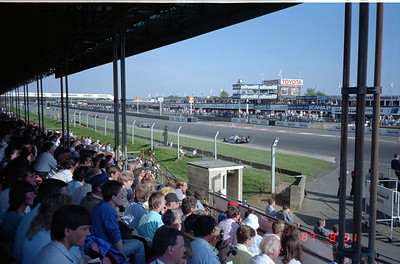 The straightaway at Silverstone Racing Track in England.