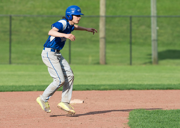 05/6/19 Wesley Bunnell | Staff Berlin baseball defeated Bristol Eastern at Sage Park on Tuesday afternoon. Catcher Carson Sassu (1) takes a lead off of second base.