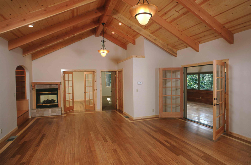 Nevada City addition with open beam framing on Banner Mountain.  Douglas fir doors & beams were accented with bamboo floors