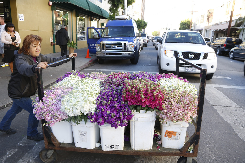 . A Flower Market employee pushes Valentine\'s Day flowers for delivery Friday Feb. 14, 2014 in Los Angeles. (AP Photo/Nick Ut)