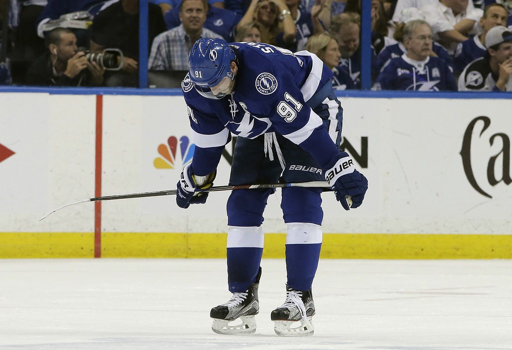 . Tampa Bay Lightning center Steven Stamkos (91) leaves the ice after a power play against the Detroit Red Wings during the first period of Game 7 of a first-round NHL Stanley Cup hockey playoff series Wednesday, April 29, 2015, in Tampa, Fla. (AP Photo/Chris O\'Meara)