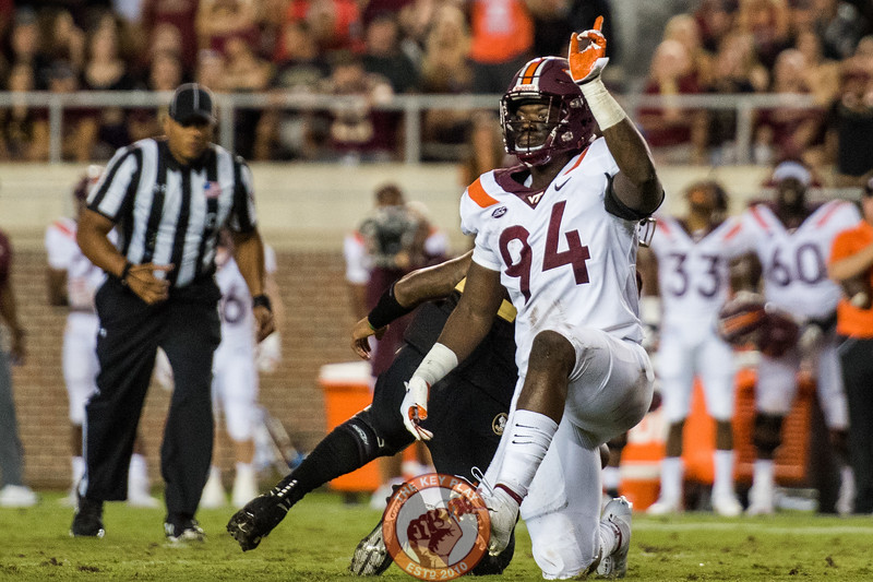 Trevon Hill (94) celebrates a sack during the matchup between Virginia Tech and Florida State at Doak Campbell Stadium, Monday, Sept. 3, 2018. (Photo by Cory Hancock)