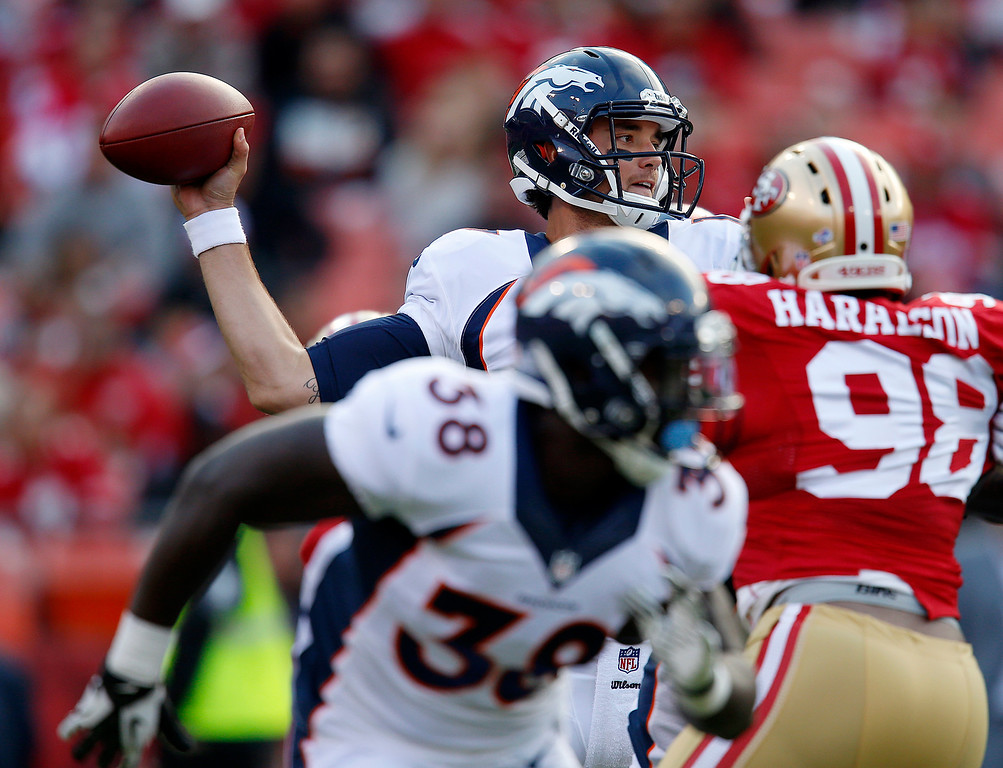 . Denver Broncos\' quarterback Brock Osweiler (17) throws against the San Francisco 49ers in the second quarter for their first preseason game of the season at Candlestick Park in San Francisco, Calif. on Thursday, Aug. 8, 2013.  (Nhat V. Meyer/Bay Area News Group)