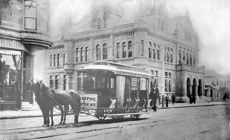 Horse-drawn streetcar on Main Street and Winston Street, showing the Post Office, ca.1892