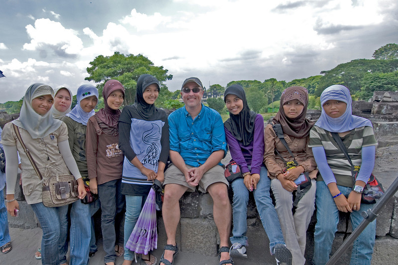 Getting a picture with locals in Prambanan in Jakarta, Indonesia