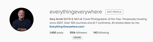 My instagram follower count