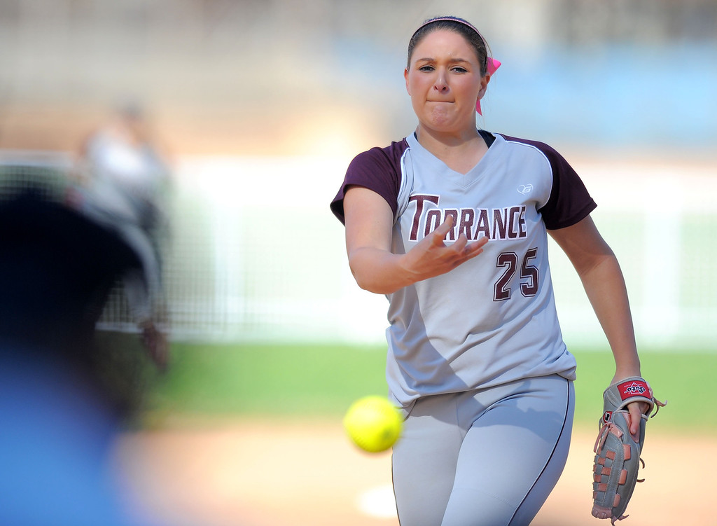 . TORRANCE - 04/03/2013  (Photo: Scott Varley, Los Angeles Newspaper Group)  South vs Torrance softball in a Pioneer League matchup. Torrance starting pitcher Nicole Ayala.