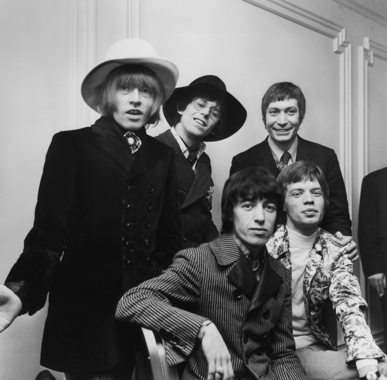 . British rock group The Rolling Stones; from left to right, Brian Jones (1942 - 1969), Bill Wyman, Charlie Watts, Keith Richards and Mick Jagger, January 1967.  (Photo by Keystone/Getty Images)
