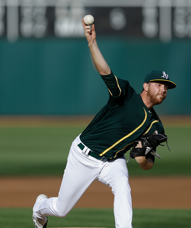 . Oakland Athletics pitcher Paul Blackburn works against the Cleveland Indians in the first inning of a baseball game Saturday, July 15, 2017, in Oakland, Calif. (AP Photo/Ben Margot)