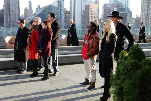 ". ALL-STAR CELEBRITY APPRENTICE -- ""The First Leaf That Hits the Ground\"" Episode 1307-- Pictured: (l-r) Stephen Baldwin, Lisa Rinna, Gary Busey, Penn Jillette, Marilu Henner, Donald Trump, Lil Jon, Ivanka Trump, Brande Roderick, Trace Adkins, Eric Trump -- (Photo by: Douglas Gorenstein/NBC)"