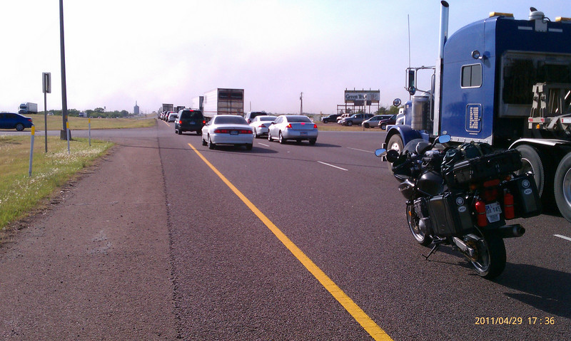 Not far past Wichita Falls on 287 I ran into a snag. Traffic began to stack up, then stopped dead.