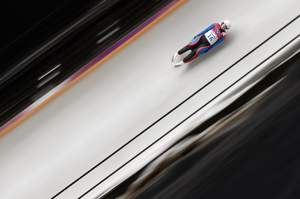 . Slovakia\'s Viera Gburova competes during the Women\'s Luge Singles run one at the Sliding Center Sanki during the Sochi Winter Olympics on February 10, 2014.  AFP PHOTO / LEON NEAL/AFP/Getty Images