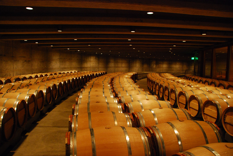 The barrel storage room at Opus One.