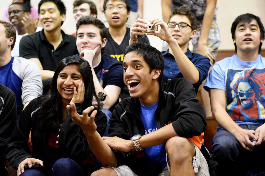 """. Caltech students watch teams of mechanical engineering Caltech students compete in the annual ME72 Engineering Design Contest at the Pasadena campus Tuesday, March 11, 2014. The goal in \""""Raiders of the Lost Can\"""" was to move their team\'s can closest to the center of a platform. (Photo by Sarah Reingewirtz/Pasadena Star-News)"""