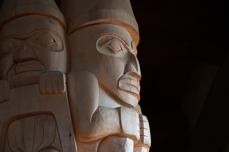 Isolated shot of totem pole in Haida Gwaii, British Columbia