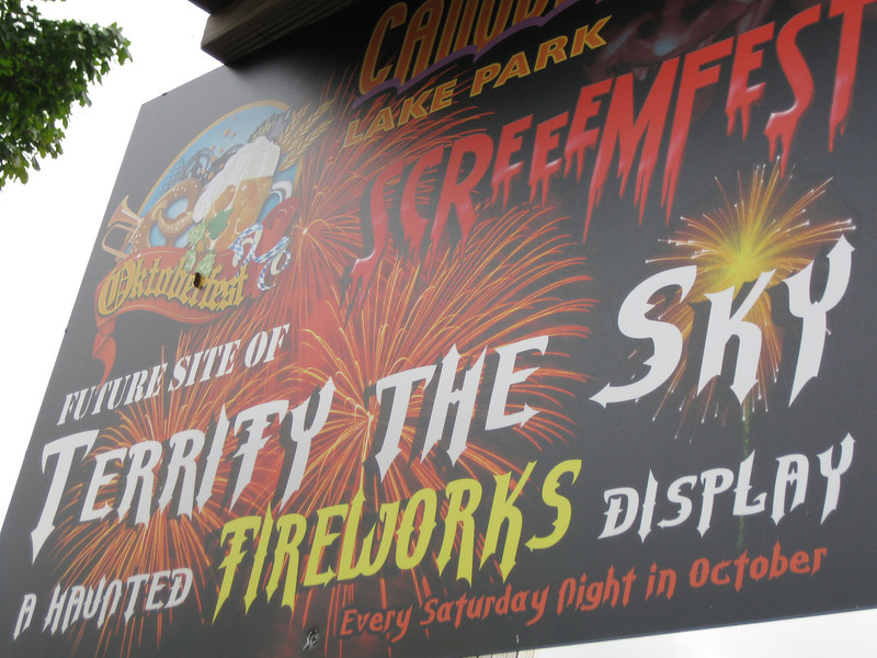 "Screeemfest ""Terrify the Sky"" fireworks sign"