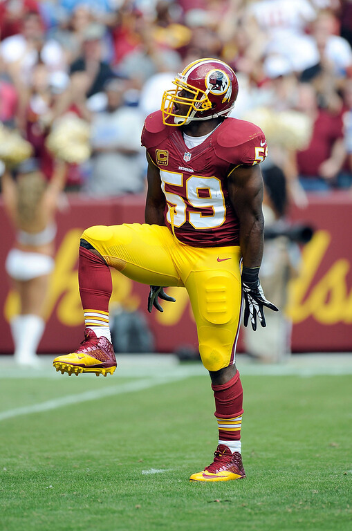 . London Fletcher #59 of the Washington Redskins celebrates after sacking Matthew Stafford #9 (not pictured) of the Detroit Lions during the first quarter at FedExField on September 22, 2013 in Landover, Maryland.  (Photo by Greg Fiume/Getty Images)