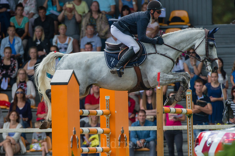 Andis VARNA (LAT) with the horse KS CORADINA, World Cup competition, Grand Prix Riga, CSI2*-W, CSIYH1* - Riga 2016, Latvia